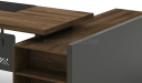 walnut laminate office table with side cabinet