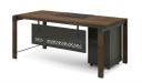 walnut office desk with mobile pedestal