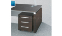 office table with three drawer mobile pedestal in dark oak veneer