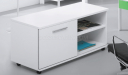 office desk side cabinet in white laminate