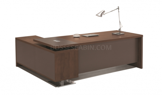 5 feet office table in walnut laminate with side cabinet