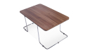 sleek coffee table with natural wood finish top and steel legs