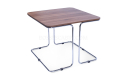 sleek corner table with slim steel wire legs