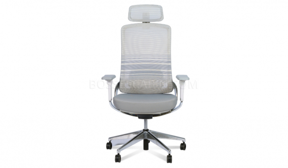 high office chair with gray mesh backrest