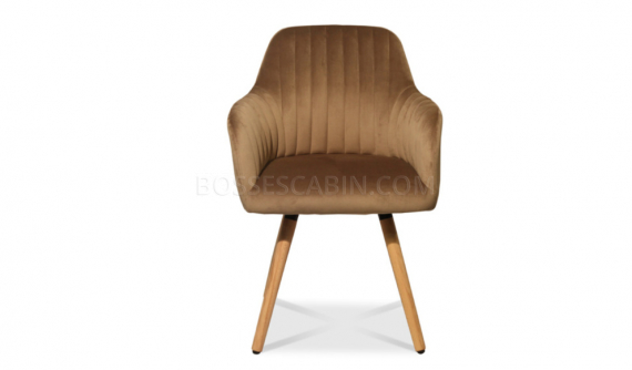 cafeteria chair in brown fabric with wooden legs
