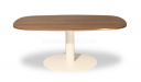 coffee table with walnut laminate top and white metal base