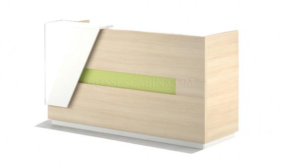 small reception desk in light wood finish