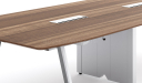 walnut finish meeting tabletop with wire manager