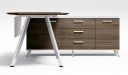 walnut finish desk and side cabinet with drawers