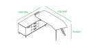 shop drawing of 7 feet desk with curved top