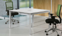 meeting room with square white table and chairs