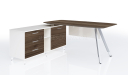 office table with side cabin in walnut wood finish