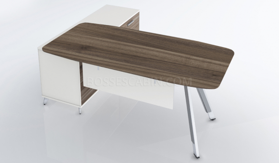 modern office table with walnut top