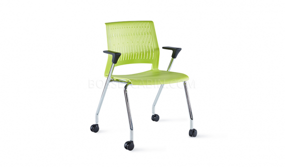 green plastic chair with chrome legs and castors