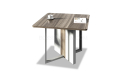 square discussion table in walnut laminate