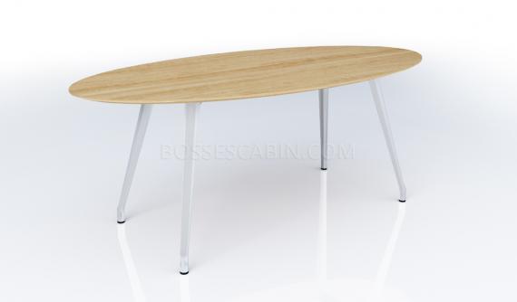 oval shape meeting room table in light oak finish