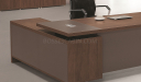 walnut laminate desktop with wire box