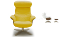 Lounge chair in yellow leather upholstery