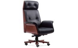 'Imperial' Exe. Office Chair In Leather & Wood