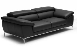 'Ebony' Plush Two Seater Office Sofa In Leather